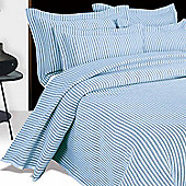 Homescapes Blue and White Quilted Striped Bedspread, Double