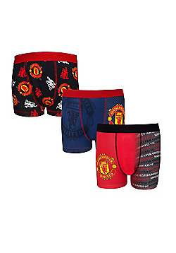 Manchester United FC Boys Boxer Shorts 3 Pack - Multi