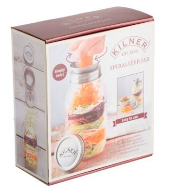 Kilner Manual Vegetable Spiralizer Jar with Spiralizer Blade - 1 Litre