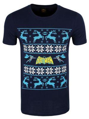 Batman Reindeer Blue Men's Christmas T-shirt