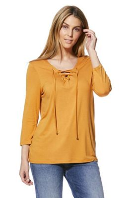 F&F Eyelet Lace-Up 3/4 Sleeve Top Mustard Yellow 6