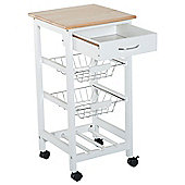 Homcom 2-Tier Kitchen Trolley Serving Cart Storage Basket Drawer w/ Wheels Brakes - White