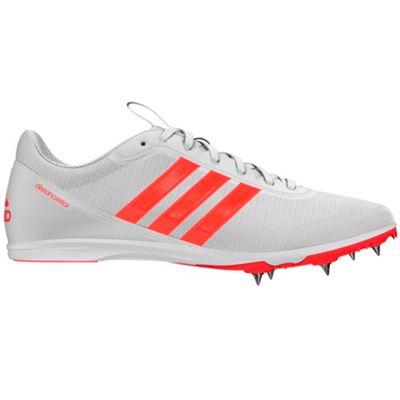 adidas Distancestar Running Spike Trainer Shoe White / Red - UK 11.5