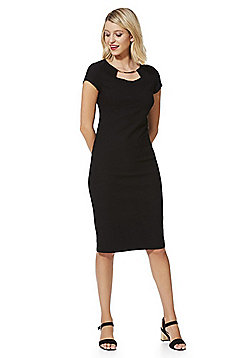 F&F Metallic Trim Bengaline Shift Dress - Black
