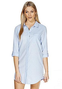 F&F Striped Chambray Nightshirt - Blue & White