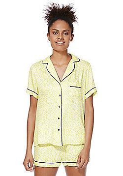 F&F Floral Print Piped Shorts Pyjamas - Yellow