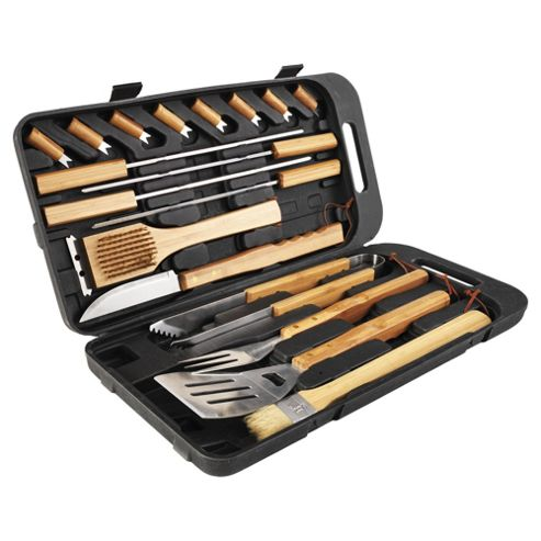 Landmann 13395 18 Piece Bamboo Barbecue Tool Set
