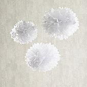 Set of 3 White Tissue Paper Pom Poms