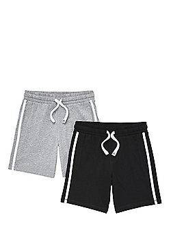 F&F 2 Pack of Jersey Drawstring Shorts - Grey & Black