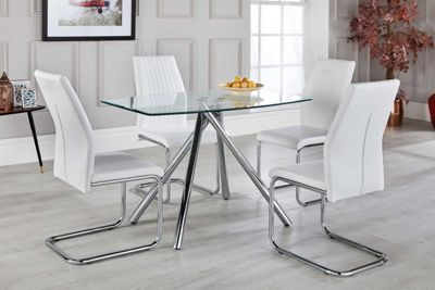 Alexa Glass And Chrome Metal Dining Table With 4 White Lorenzo Chairs