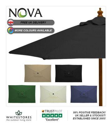 Nova 3m x 2m Rectangular Black Wooden Garden Parasol