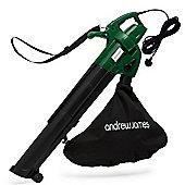Andrew James 3 in1 Leaf Blower / Leaf Vacuum - Electric Garden Leaf Vacuum Shredder