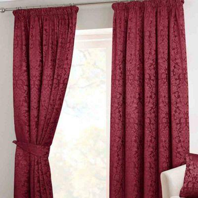 Homescapes Wine Velvet Jacquard Wine Pencil Pleat Lined Curtain Pair, 46 x 54