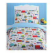 Bright Trucks 4 in 1 Junior Bedding Bundle (Duvet, Pillow and Covers)