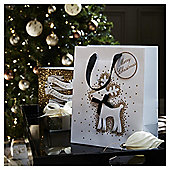 Medium Glitter Reindeer Christmas Gift Bag