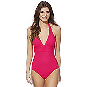 F&F Luxury Lattice Detail Halterneck Swimsuit - Red