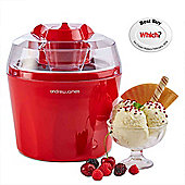 Andrew James Automatic Ice Cream Maker - Fast Freeze Removable 1.45L Bowl - Red