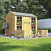 7x5 BillyOh Gingerbread Max Children Wooden Playhouse Outdoor - Premium with 4ft Picket Fence