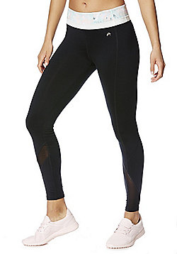 F&F Active Floral Waistband Mesh Panel Leggings - Black
