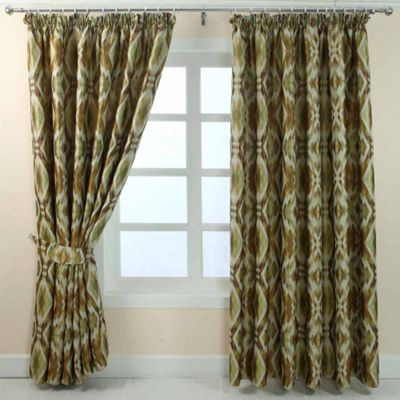 Homescapes Green and Gold Jacquard Curtain Geometric Diamond Design Fully Lined - 66