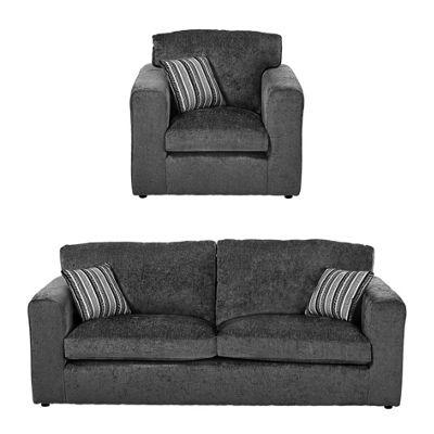 Taunton Armchair + 3 Seater Sofa Set, Dark Grey