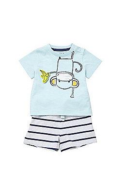 F&F Monkey T-Shirt and Striped Shorts Set - Blue/White
