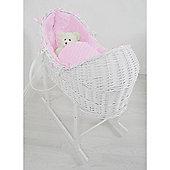 PreciousLittleOne Baby Pod White Wicker (Dimple Pink)