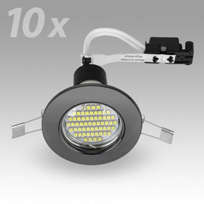 Pack of 10 MiniSun Recessed 3W LED GU10 Downlights, Black Chrome