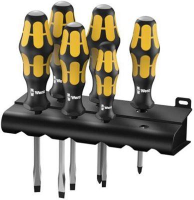 Wera 05018287001 Kraftform Plus 918/932/6 Chiseldriver with Pound-Thru Blade Screwdriver Set Pozi / Slotted, 6-Piece