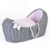 Ginnini Grey Pod Moses Basket (Bubble Pink)