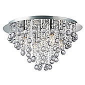 Modern 5 Bulb Chrome Ceiling Light with Clear Acrylic Balls and Beads