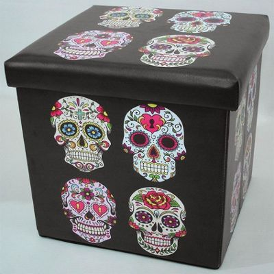Candy Skulls Folding Storage Box and Seat