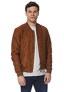 F&F Faux Suede Bomber Jacket - Tobacco