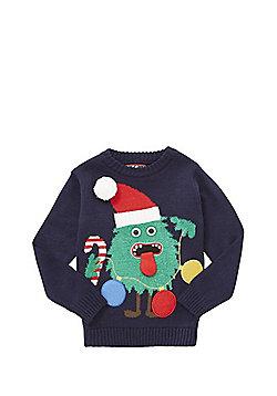 F&F Monster Tree Light-Up Christmas Jumper - Blue