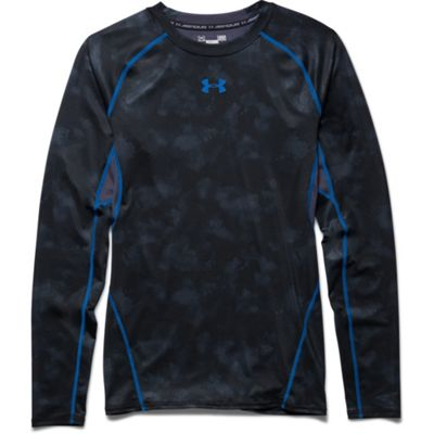 Under Armour HeatGear Armour Printed LS Baselayer Black/Blue - L