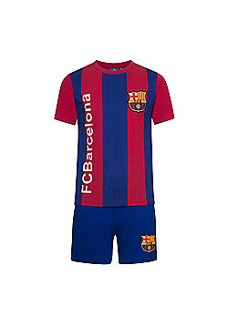 FC Barcelona Boys Striped Short Pyjamas - Blue