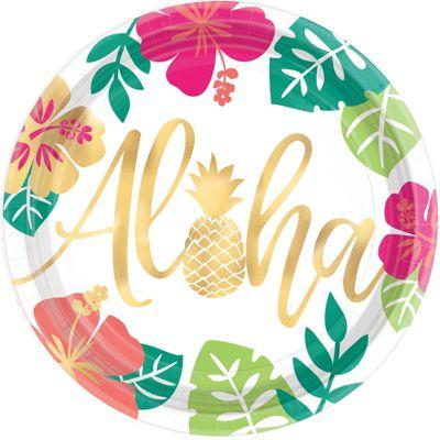 Aloha Summer Paper Plates - 25cm