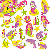 Mermaid Foam Stickers for Kid's Collage & Card Craft Decorating (Pack of 120)