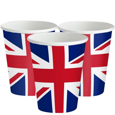 Union Jack Paper Cups, Pack of 8