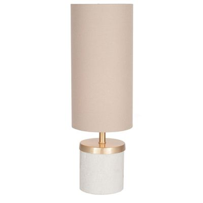 Short Marble Table Lamp with Taupe Handloom Shade