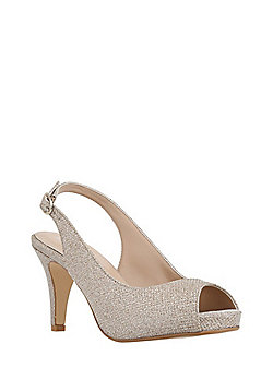 F&F Sensitive Sole Metallic Peep Toe Slingback Shoes - Gold