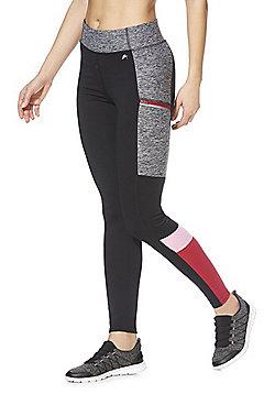 F&F Active Colour Block Zip Pocket Leggings - Grey