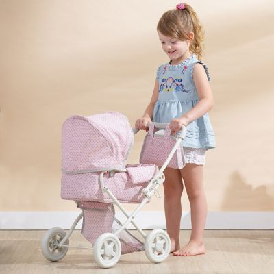 Olivia's Little World - Polka Dots Princess Baby Doll Deluxe Stroller - Pink & Grey