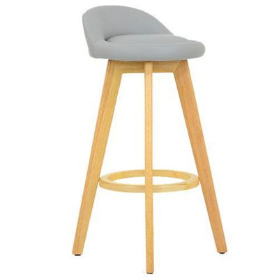 Athena Wooden Fixed Height Faux Leather Grey Bar Stool