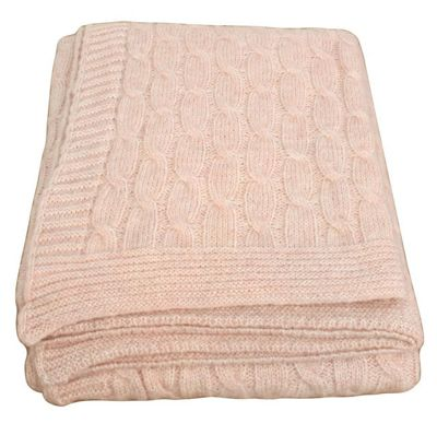 Pink Wool Twist Throw Blanket Sofa Bedroom Decor