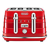 DeLonghi-CTA4003R Avvolta 4 Slice Toaster with Browning Control and Removable Crumb Tray in Red