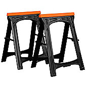 VonHaus Folding Plastic Sawhorse Trestle Saw Horse Cutting Stands Twin Pack