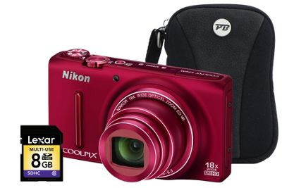 Nikon Coolpix S9400 Red Camera Kit inc 8GB SD Card and Case