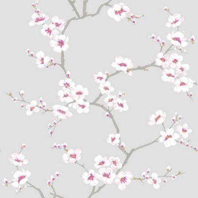 Fresco Metallic Apple Blossom Tree Grey Wallpaper