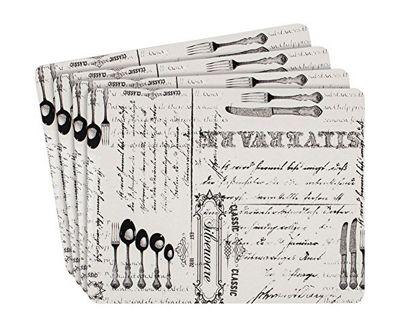 Ladelle Silverware Hardboard Set of 4 Placemats